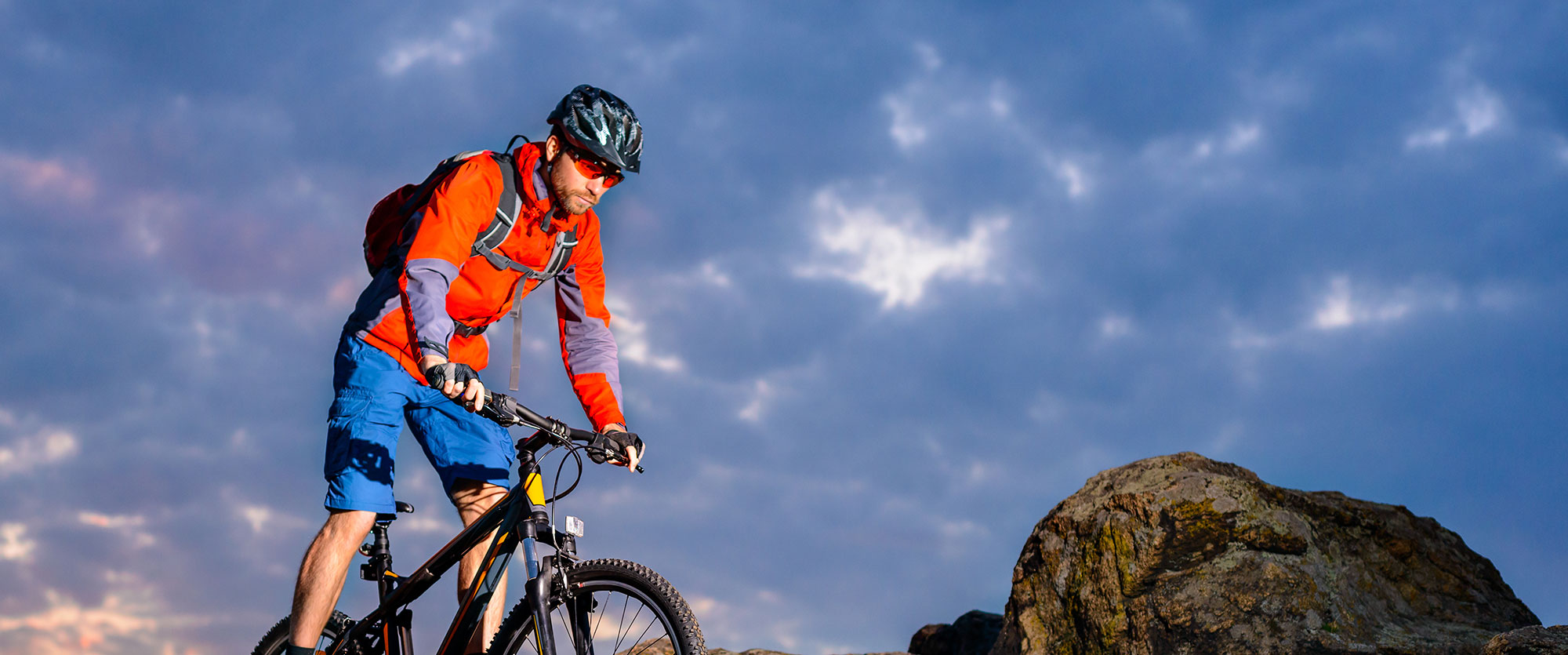 Man on a mountain bike trail