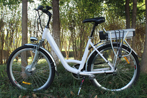 Side view of white Jurni model bike